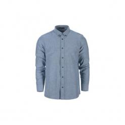 Koszula męska rozpinana, Z KOŁNIERZEM casual. Szare koszule męskie marki TXM, z dresówki. Za 34,99 zł.