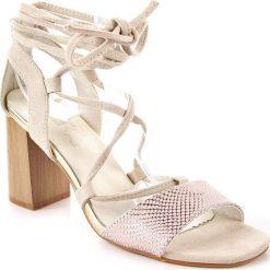 Rzymianki damskie: Sandały damskie wiązane beżowe Jezzi