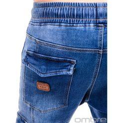 Spodnie męskie: SPODNIE MĘSKIE JEANSOWE JOGGERY P410 - NIEBIESKIE