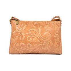 Torebki i plecaki damskie: Skórzana torebka w kolorze jasnobrązowym – (S)24 x (W)18 x (G)2 cm