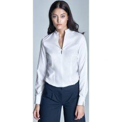 Bluzki damskie: Biała Koszulowa Bluzka ze Stojką z Długim Rękawem