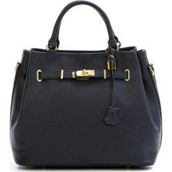 Torebki klasyczne damskie: Skórzana torebka w kolorze granatowym – 35 x 28 x 17 cm