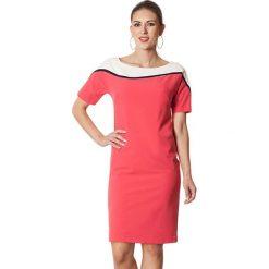 Sukienki hiszpanki: Sukienka w kolorze koralowo-białym