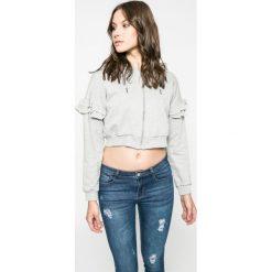 Answear - Bluza. Szare bluzy z kapturem damskie marki ANSWEAR, l, z poliesteru, z długim rękawem, długie. W wyprzedaży za 39,90 zł.