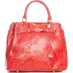 Torebki klasyczne damskie: Skórzana torebka w kolorze czerwonym – 40 x 21 x 31 cm
