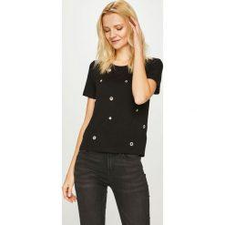 Guess Jeans - Top Eyelets. Szare topy damskie marki Guess Jeans, na co dzień, l, z aplikacjami, z bawełny, casualowe, z okrągłym kołnierzem, mini, dopasowane. Za 229,90 zł.
