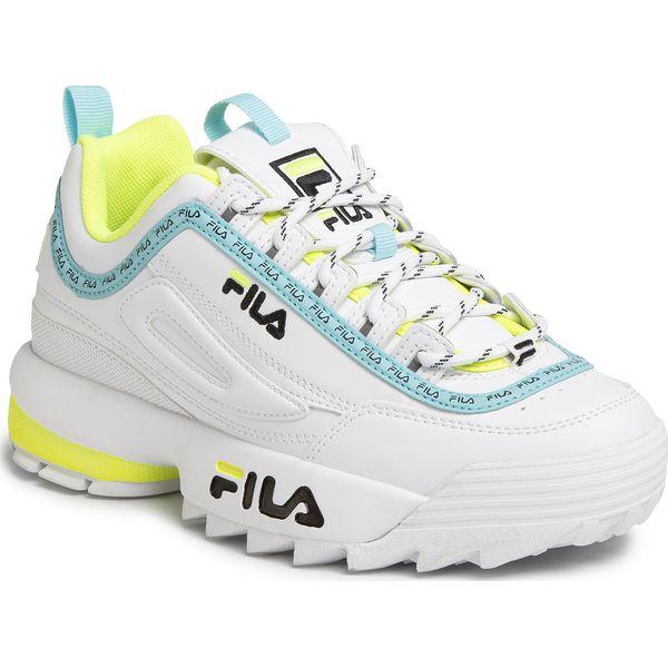 Sneakersy FILA Disruptor Logo Low Wmn 1010748.92Q WhiteBlackNeon Lime