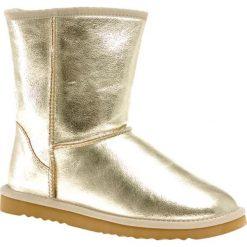 Skórzane botki w kolorze złotym. Żółte buty zimowe damskie Carla Samuel, na zimę. W wyprzedaży za 199,95 zł.