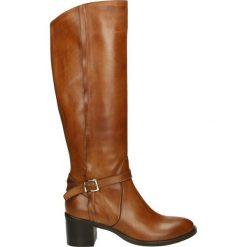 Kozaki - 2594VE NAT CU. Brązowe buty zimowe damskie marki Kazar, ze skóry, przed kolano, na wysokim obcasie. Za 499,00 zł.