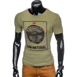 T-SHIRT MĘSKI Z NADRUKIEM S928 - KHAKI. Brązowe t-shirty męskie z nadrukiem marki Ombre Clothing, m. Za 29,00 zł.