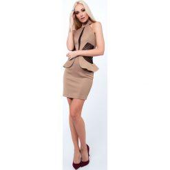 Sukienka z baskinką beżowa G5154. Brązowe sukienki Fasardi, l, baskinki. Za 99,00 zł.