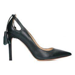 Buty ślubne damskie: Skórzane czółenka w kolorze ciemnozielonym