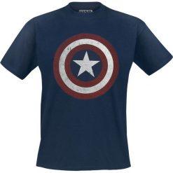 Captain America Shield Logo T-Shirt granatowy. Niebieskie t-shirty męskie z nadrukiem Captain America, l, z okrągłym kołnierzem. Za 74,90 zł.
