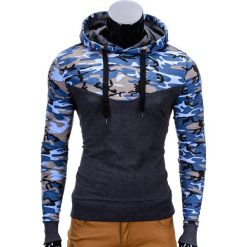 Bluzy męskie: BLUZA MĘSKA Z KAPTUREM B670 - NIEBIESKA