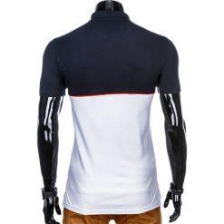 KOSZULKA MĘSKA POLO BEZ NADRUKU S919 - GRANATOWA/BIAŁA. Białe koszulki polo marki Ombre Clothing, m, z nadrukiem. Za 49,00 zł.