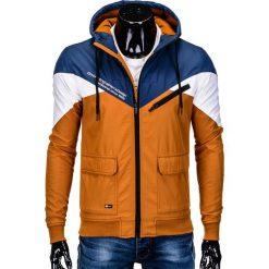KURTKA MĘSKA PRZEJŚCIOWA SPORTOWA C316 - GRANATOWA. Niebieskie kurtki sportowe męskie Ombre Clothing, m, z polaru. Za 99,00 zł.
