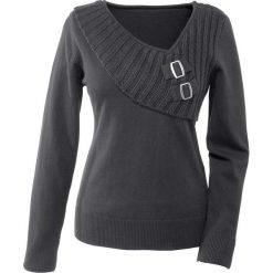 Sweter bonprix ciemnoszary. Szare swetry klasyczne damskie bonprix, z dzianiny. Za 89,99 zł.