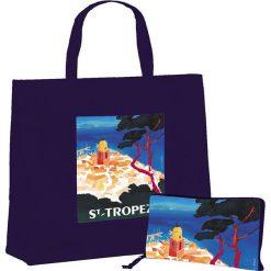 """Torba """"St Tropez"""" w kolorze granatowym na zakupy - 46 x 40 x 19 cm. Niebieskie shopper bag damskie Éditions Clouet, z nadrukiem, z tworzywa sztucznego, z nadrukiem. W wyprzedaży za 24,95 zł."""