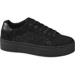 Sneakersy damskie Graceland czarne. Czarne sneakersy damskie marki Graceland, w kolorowe wzory, z materiału. Za 119,90 zł.