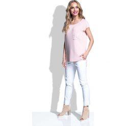 Bluzki damskie: Pudrowa Bluzka Asymetryczna z Kieszonką