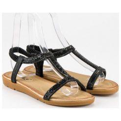 Sandały damskie: FAMA czarne sandały z gumką czarne