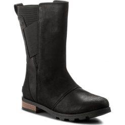 Kozaki SOREL - Emelie Mid NL2679 Black 010. Czarne kowbojki damskie Sorel, z gumy, przed kolano, na wysokim obcasie, na obcasie. W wyprzedaży za 429,00 zł.
