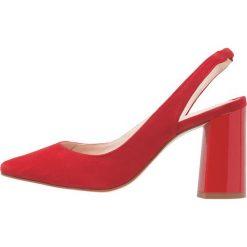 Minelli Szpilki rouge. Czerwone szpilki Minelli, z materiału. W wyprzedaży za 359,40 zł.