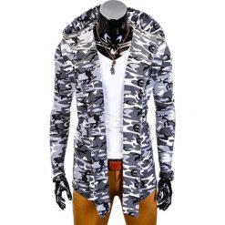 Bluzy męskie: BLUZA MĘSKA Z KAPTUREM NARZUTKA B703 – CZARNA/MORO