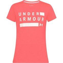 T-shirt w kolorze koralowym. T-shirty damskie marki Under Armour, xs, z nadrukiem, z materiału, z okrągłym kołnierzem. W wyprzedaży za 69,95 zł.
