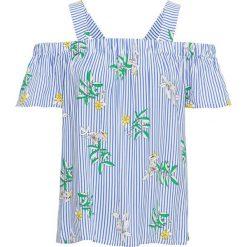 Bluzka w paski, z kwiatowym nadrukiem bonprix biel wełny - jasnoniebieski w paski. Białe bluzki asymetryczne bonprix, z nadrukiem, z wełny, z kołnierzem typu carmen. Za 49,99 zł.