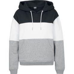 Bluzy damskie: Urban Classics Ladies Oversize 3-Tone Hoody Bluza z kapturem damska czarny/szary/biały