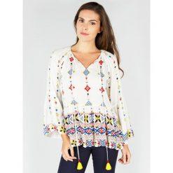 Bluzki asymetryczne: Bluzka w etniczny wzór z długim rękawem