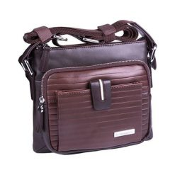 Torebki klasyczne damskie: Skórzana torba w kolorze brązowym – (S)21 x (W)18 x (G)4,5 cm