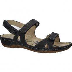 Czarne sandały skórzane na koturnie Helios 205. Czarne sandały damskie Helios, na koturnie. Za 158,99 zł.