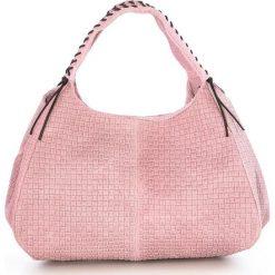 Torebki klasyczne damskie: Skórzana torebka w kolorze jasnoróżowym – 43 x 20 x 38 cm
