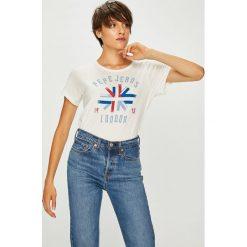 Pepe Jeans - Top Salma. Szare topy damskie Pepe Jeans, m, z nadrukiem, z bawełny, z okrągłym kołnierzem. W wyprzedaży za 119,90 zł.