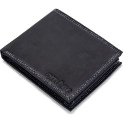 PORTFEL MĘSKI SKÓRZANY A092 - CZARNY. Czarne portfele męskie marki Ombre Clothing, z materiału. Za 59,00 zł.