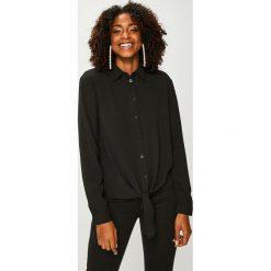 Answear - Koszula. Czarne koszule wiązane damskie marki ANSWEAR, l, z elastanu, casualowe, z klasycznym kołnierzykiem, z długim rękawem. Za 89,90 zł.