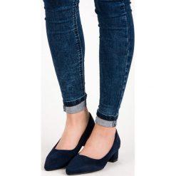 Buty ślubne damskie: ZAMSZOWE CZÓŁENKA NA NISKIM OBCASIE BEST SHOES niebieskie