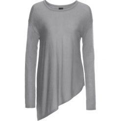 Sweter z dzianiny o gładkim splocie bonprix jasnoszary melanż. Szare swetry klasyczne damskie marki Mohito, l, z asymetrycznym kołnierzem. Za 49,99 zł.