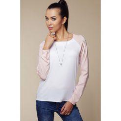 Bluzki damskie: Dwubarwna  Bluzka z Długim Rękawem - Różowy&biały