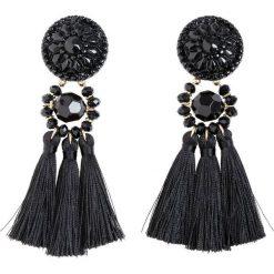 Kolczyki damskie: Kolczyki z tekstylnymi chwostami bonprix złoty kolor - czarny
