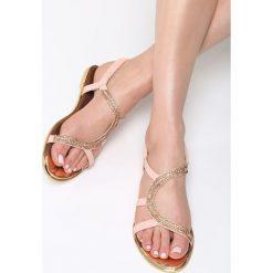 Różowe Sandały Nosegay. Czerwone sandały damskie marki Born2be, z materiału, na obcasie. Za 79,99 zł.