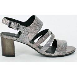 Caprice - Sandały. Szare sandały damskie na słupku Caprice, z materiału. W wyprzedaży za 179,90 zł.