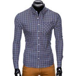 KOSZULA MĘSKA W KRATĘ Z DŁUGIM RĘKAWEM K429 - GRANATOWA/BEŻOWA. Zielone koszule męskie na spinki marki Ombre Clothing, na zimę, m, z bawełny, z kapturem. Za 59,00 zł.
