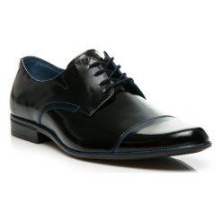 Buty wizytowe męskie: Eleganckie skórzane czarne buty - połysk
