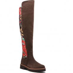 Muszkieterki GABOR - 91.805.38 Engl/Brown/Multic. Brązowe buty zimowe damskie Gabor, z materiału, na obcasie. Za 719,00 zł.