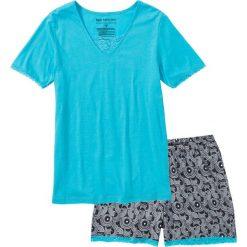 Piżamy damskie: Piżama z dłuższymi szortami bonprix błękit laguny z nadrukiem