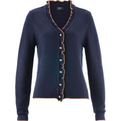 Sweter rozpinany ludowy z falbankami bonprix ciemnoniebiesko-karmelowy. Niebieskie swetry rozpinane damskie marki bonprix. Za 89,99 zł.