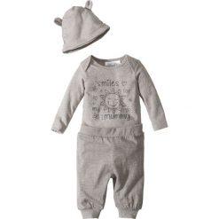 Body niemowlęce + spodnie z dżerseju + czapka (3 części), bawełna organiczna bonprix jasnoszary melanż. Szare body niemowlęce marki bonprix, melanż, z bawełny. Za 32,99 zł.
